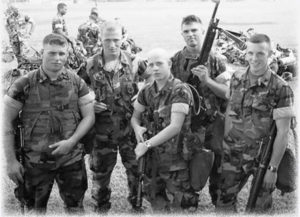 Timothy R. Morris (front right) with guys from 2/2 Fox at Camp Lejeune the day before deployment.